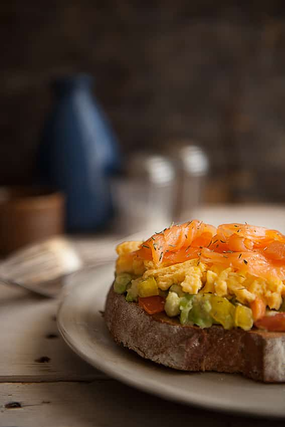 Smooth Scrambled Eggs with Smoked Salmon and Guacamole - Food Photography We eat together