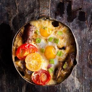 Skyler's Sausage, Mushroom and Quail Egg Bake Recipe