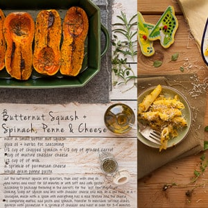 Butternut Squash With Spinach, Penne & Cheese Recipe