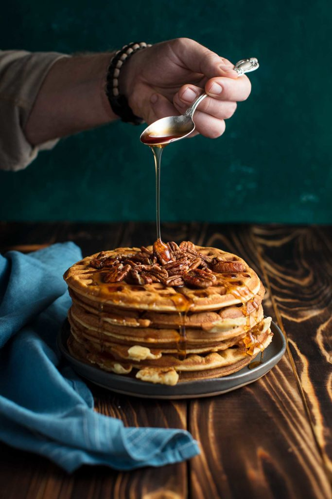 Large Stack Of Pecan Waffles Food Photography We Eat Together