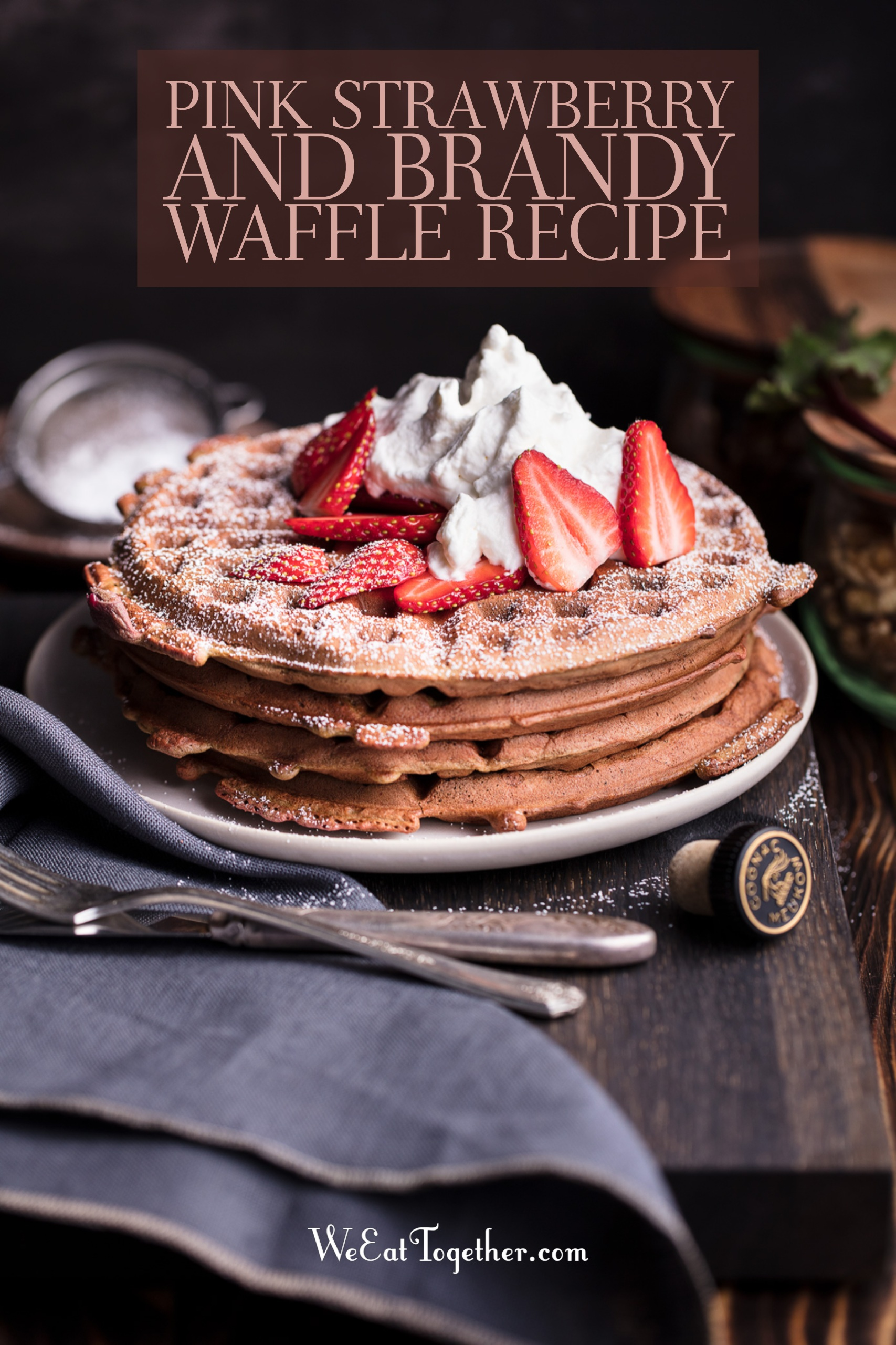Simple Pink Strawberry And Brandy Waffle Recipe great to make on National Strawberry Day!