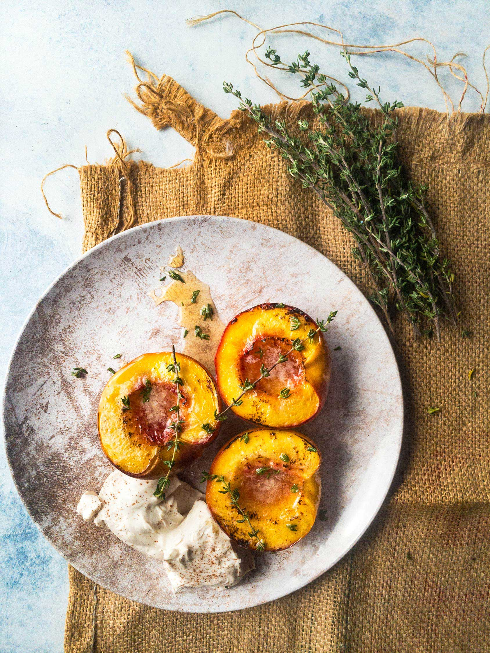 Baked Peaches and Mascarpone iPhone Food Photography