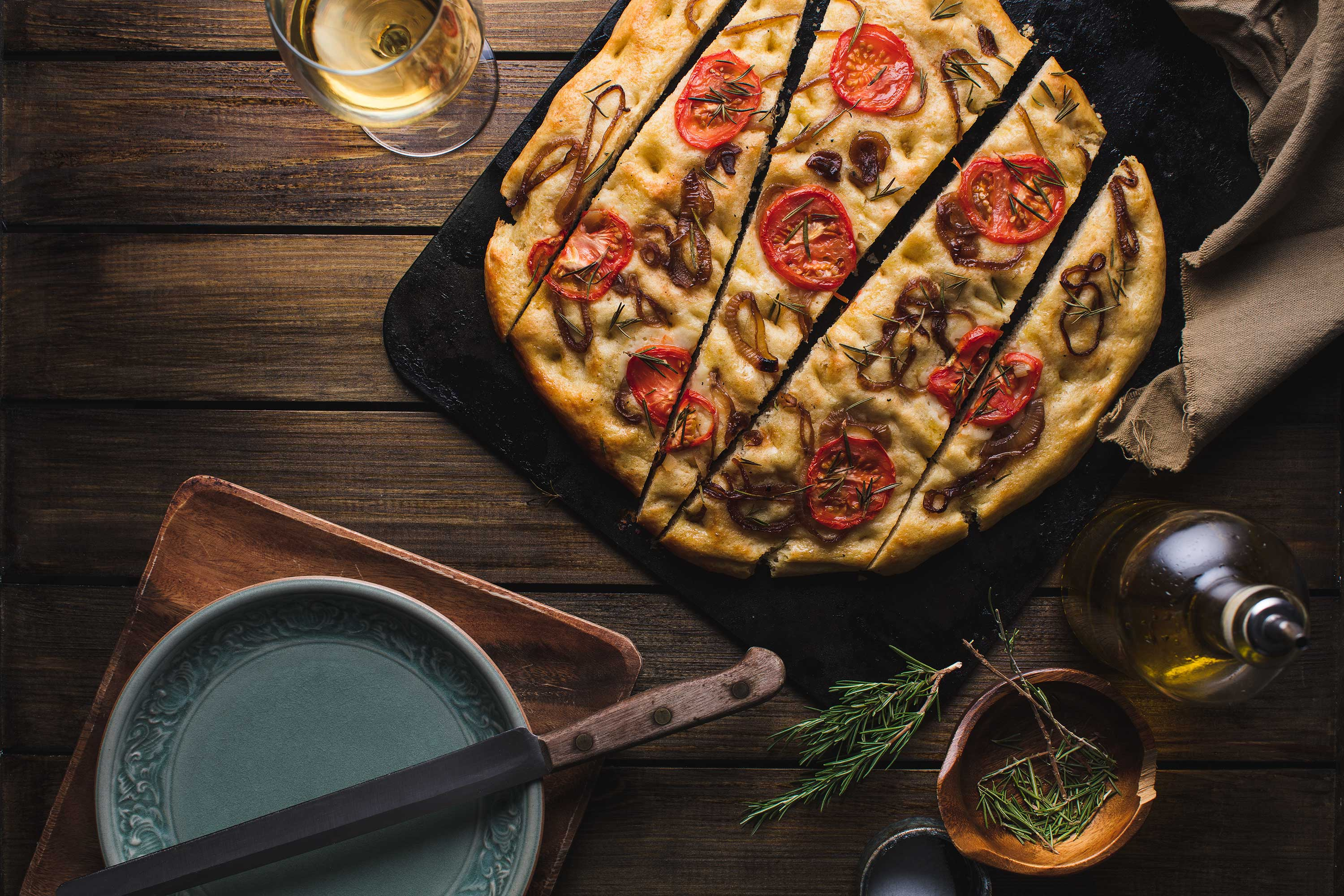 Focaccia Bread using Artificial food photography lighting