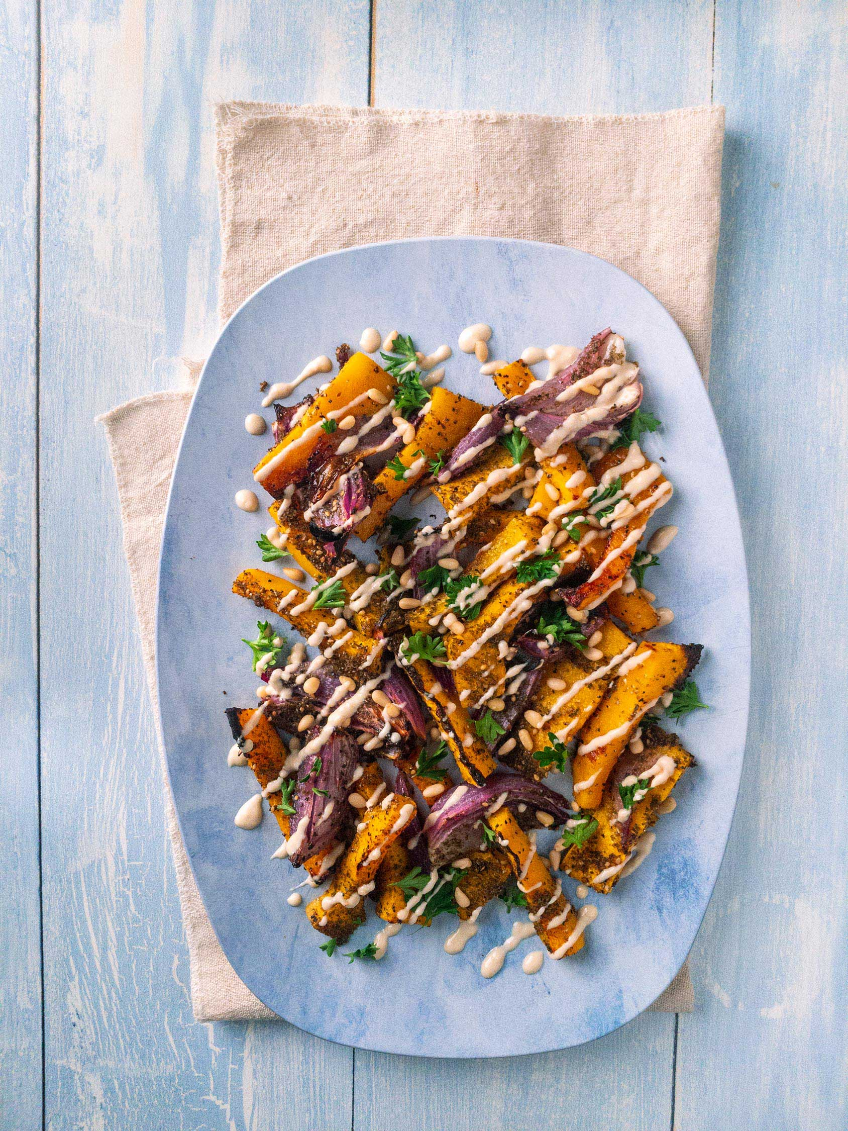 Roasted Butternut and Tahini iPhone Food Photography