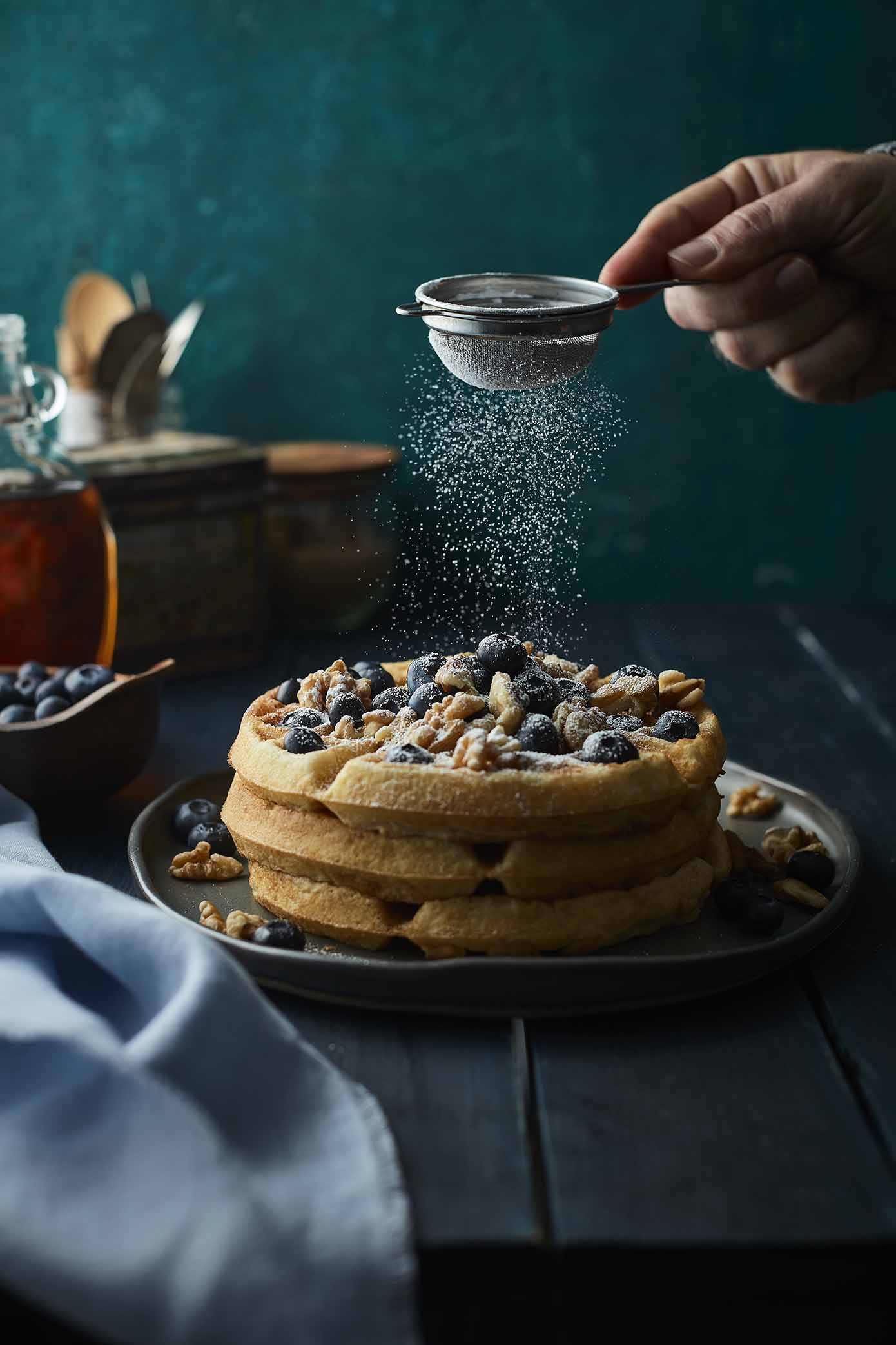 One of the waffle images with powdered sugar falling that I used to create a gif for Instagram